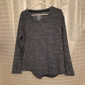 Grey long sleeve fleece shirt